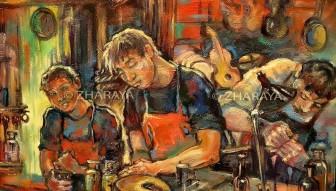 Description: Apprentis luthiers, rue Damiette à Rouen Auteur: Zharaya Eugéniya